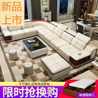 家具沙发头层牛皮 客厅转角整装沙发组合 现代简约大小户型皮沙发定制 组合