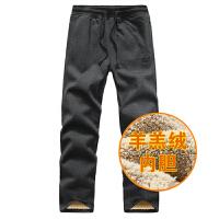 冬加绒加厚男士纯棉运动裤针织卫裤男 深灰色 4XL