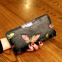 新款女士钱包长款拉链钱夹皮多功能皮夹复古大容量女手拿包