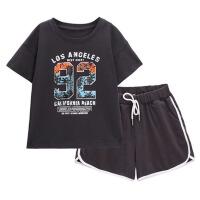儿童装套装2019新款夏装短袖运动超洋气韩版男女童中大童两件套潮