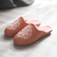 棉拖鞋男女居家室内家用保暖地板毛绒防滑防水皮拖鞋