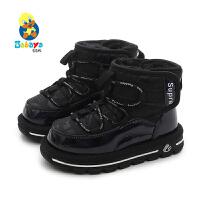 芭芭鸭男童雪地靴女童棉靴子2019冬季新款儿童冬鞋保暖加绒宝宝鞋