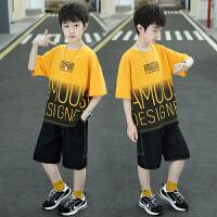 儿童装男童套装夏季中大童男孩夏装帅气短袖潮衣服