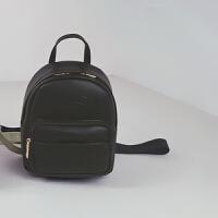 双肩包女包pu2018春夏新款韩版时尚简约百搭迷你小背包书包学院风 黑色