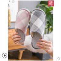 棉拖鞋女冬季室�燃矣们�H防滑居家日式棉麻男士拖鞋冬天