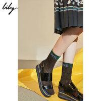 Lily2018秋新款女装时髦金银丝撞色字母搭配袜子长袜118330IZ421