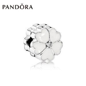 PANDORA潘多拉 白色樱草花925银珐琅固定夹791822EN12