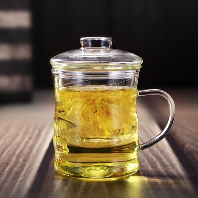 耐热玻璃茶杯过滤内胆三件套竹节杯办公用竹节泡茶杯350ML泡茶杯