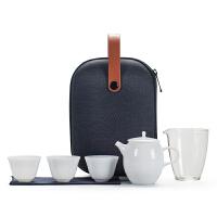 唐丰白瓷旅行茶具套装户外旅游一壶三杯功夫茶具随身迷你小便携包