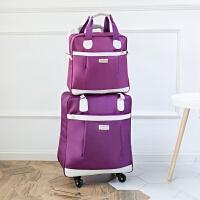 拉杆包女手提行李袋大容量韩版旅行包轻便短途防水子母登机旅游包 y