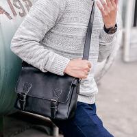 新款复古单肩包 拉链男子背包旅行小包休闲潮男邮差包斜跨包 黑色 关注店铺-*品