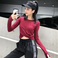 性感露脐运动上衣女速干显瘦健身瑜伽服长袖T恤跑步罩衫网红秋
