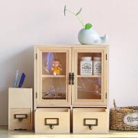 抽屉式收纳盒 桌面实木办公宿舍多功能储物盒大号木质化妆品收纳盒