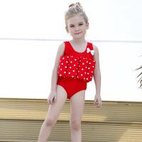 女童泳衣套装 儿童婴儿孩子甜美连体温泉戏水游泳服装舒适高弹力波点浮力 红色 三角 90 1-2岁