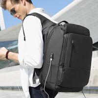 商务双肩包男17寸电脑包大容量青年短途出差旅行包多功能防盗背包SN2714 典雅黑