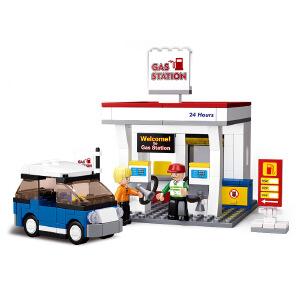 【当当自营】小鲁班模拟城市系列儿童益智拼装积木玩具 加油站M38-B0568