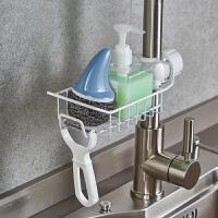 水龙头置物架餐具海绵沥水架家用厨房免打孔水槽抹布收纳架肥皂盒 适配大号水管(1个装)喷塑 单蓝