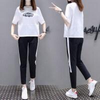 休闲套装女夏季2018新款韩版时尚宽松学生跑步运动衣服短袖两件套