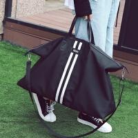 短途旅行包女手提行李袋男韩版大容量帆布轻便防水旅行袋健身包潮 黑色 大