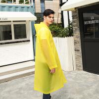 强迪便携雨披半透明雨衣成人旅游雨衣风衣式雨披 EVA环保雨衣厚款 黄色