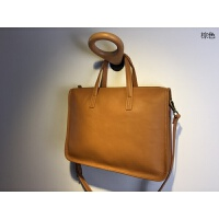 日式简约进口头层牛皮大包女包大容量公文包ol通勤包手提包单肩包 棕色