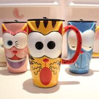 仟度彩绘陶瓷杯 创意时尚带盖带勺马克杯子咖啡杯 卡通水杯大容量