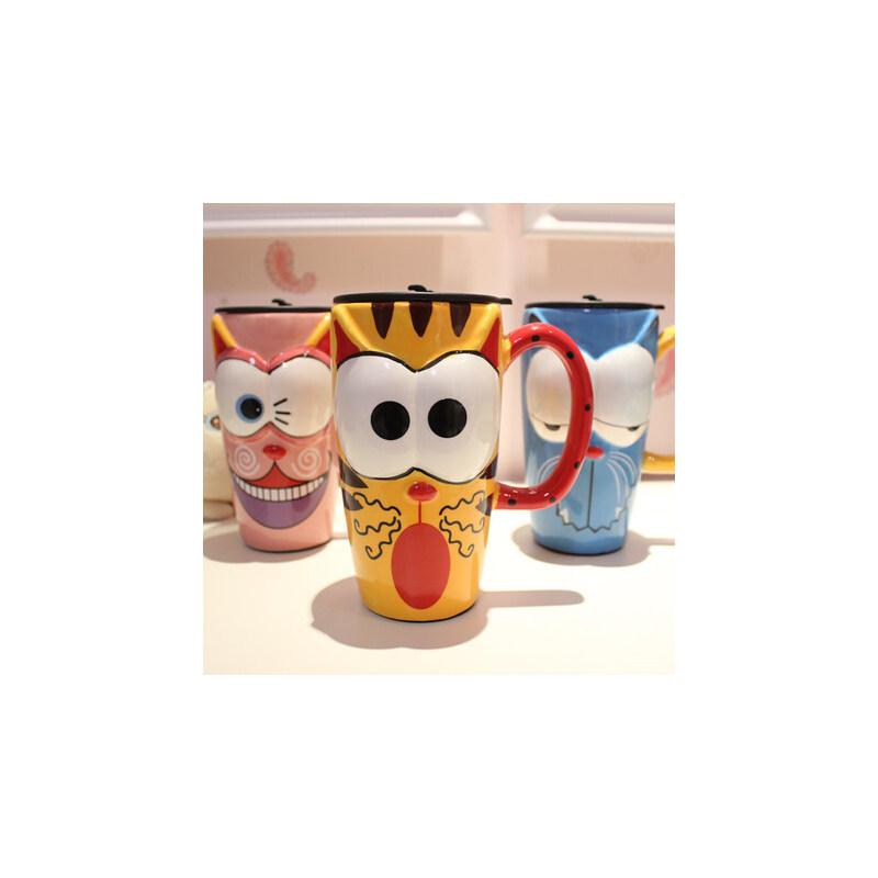 仟度彩绘陶瓷杯 创意时尚带盖带勺马克杯子咖啡杯 卡通水杯大容量 手工制作 釉下绘彩 立体卡通造型 大容量