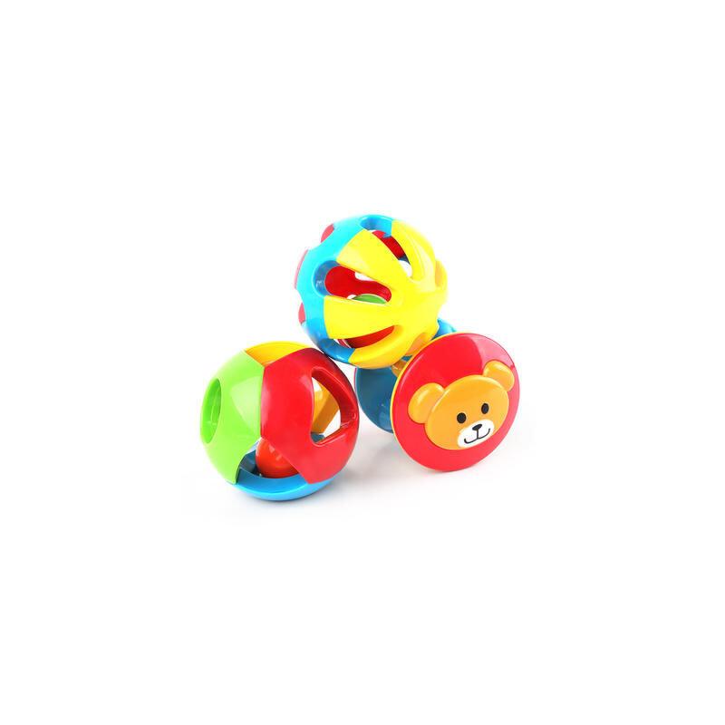 【领券立减50元】 婴儿儿童玩具0-1岁儿童益智五彩感官球铃铛球手抓球6-12个月宝宝玩具三件装 益智玩具限时钜惠