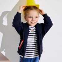 【2件5.5折到手价:92】小猪班纳童装女宝宝加绒外套秋冬装小童加厚拉链衫儿童连帽上衣
