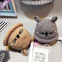 2016韩版儿童猫咪宝宝加绒帽子冬季毛绒套头帽婴儿帽子冬男女帽子