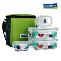 GLASSLOCK钢化玻璃便当盒四件套装便携微波保鲜饭盒GL31-A