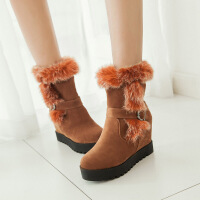 彼艾2017秋冬新款女鞋靴子内坡跟厚底内增高短靴皮带扣毛毛靴高跟雪地靴女靴子