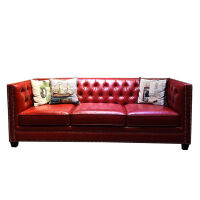 美式轻奢真皮沙发小户型三人 123红色复古拉扣皮艺简美客厅