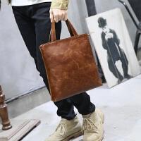 韩版手提包男包单肩包斜挎包男士休闲潮流电脑包潮竖款挎包 咖啡色 全场满2件送手包