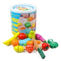 木制桶装水果蔬菜切切乐儿童切切看过家家益智玩具