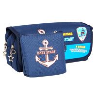 绍泽文化 BD-22136简约创意大容量帆布笔袋男孩款-海军风 儿童学生铅笔袋/文具盒 宝石蓝 当当自营