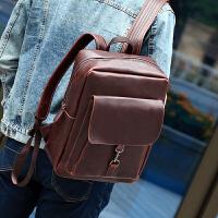 韩版男皮双肩包男背包潮流百搭皮包袋时尚休闲包学生书包