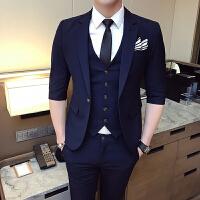绅士英伦韩版七分袖西服套装男青年潮流帅气修身中袖西装两件套