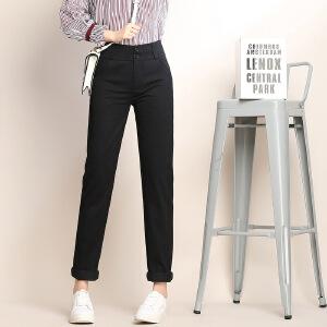 春款女装休闲裤修身显瘦高腰小脚休闲长裤双纽扣铅笔裤女