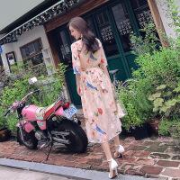 连衣裙夏季2018新款女装韩版显瘦印花雪纺收腰超仙温柔风中长裙子 杏色