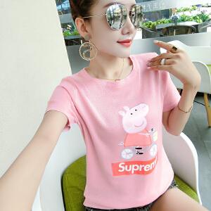 【班图诗妮】2018社会人小猪佩奇t恤女短袖衣服抖音搞怪味少女网红情侣装