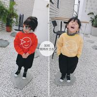 冬季新款童装女童假两件加绒卫衣小童宝宝加厚套头衫保暖衣