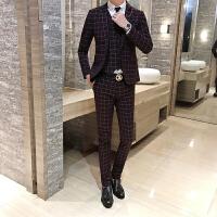 西服套装男士商务休闲格子西装男三件套韩版潮流修身婚礼服正装
