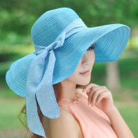 韩版遮阳帽女可折叠太阳帽沙滩帽大沿户外防晒帽女士帽子