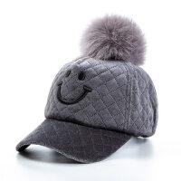 小孩宝宝鸭舌帽防寒保暖毛呢毛毛儿童帽子女童潮棒球帽男童