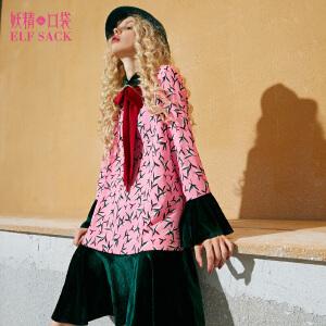 【6折价144元】妖精的口袋古典孟和秋装新款甜美印花丝绒拼接系带连衣裙女