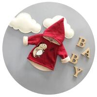 宝宝冬装男儿童戴帽子棉袄加厚加绒婴儿卫衣2016新款0-1-2-3岁潮