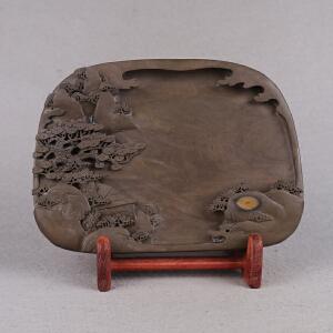中国非物质文化遗产传承人群 钟景锐作品《月是故乡明》砚 梅花坑 雕刻精细
