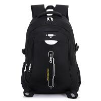 男士双肩包男休闲旅行背包电脑包韩版大学生高中学生书包时尚潮流 黑色