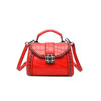 女包手提包秋冬新款复古锁扣小方包百搭单肩斜挎包迷你小包包 红色 少量现货